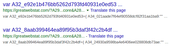 Malicious scripts from greatwebstat[.]com indexed by Google