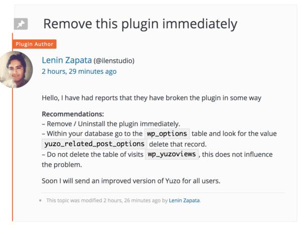 Remove the Youzo post plugin immediately