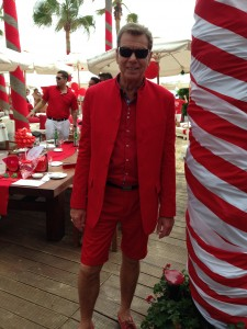 Harrison Nehru Suit in Ferrari Red with Shorts