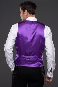 Tissington Party Waistcoat Back View in Purple