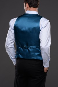 Tissington Party Waistcoat Back View in Teal