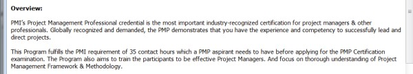 PMP Training Provider Case - 3
