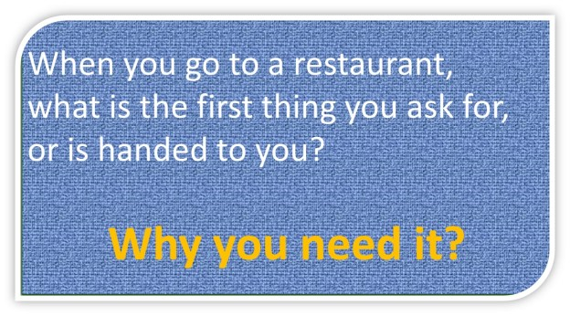 In restaurants what do you ask for