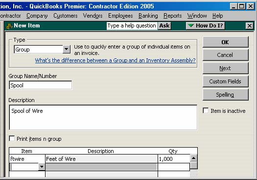 group item for wire