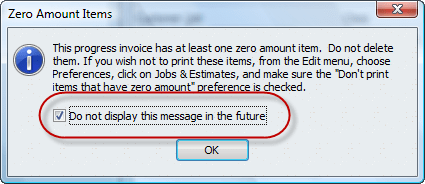 zero amount line items