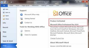 Microsoft Office version