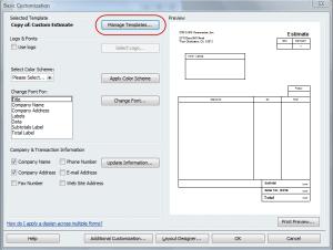 basic estimate customization