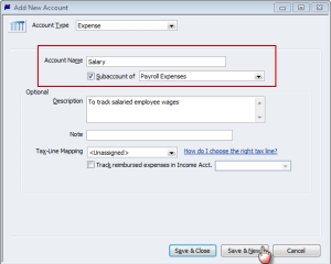 create a sub-account of payroll expenses for Salary