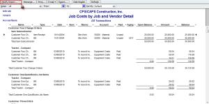 job costs by job and vendor detail