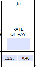 Column 6 Rate of Pay/Cash fringes