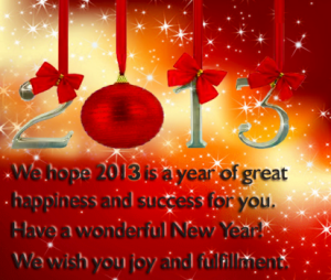 Welcome to 2013 - Happy New Year!