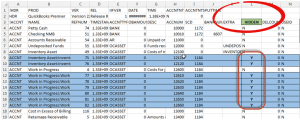 inactive items in an iif file