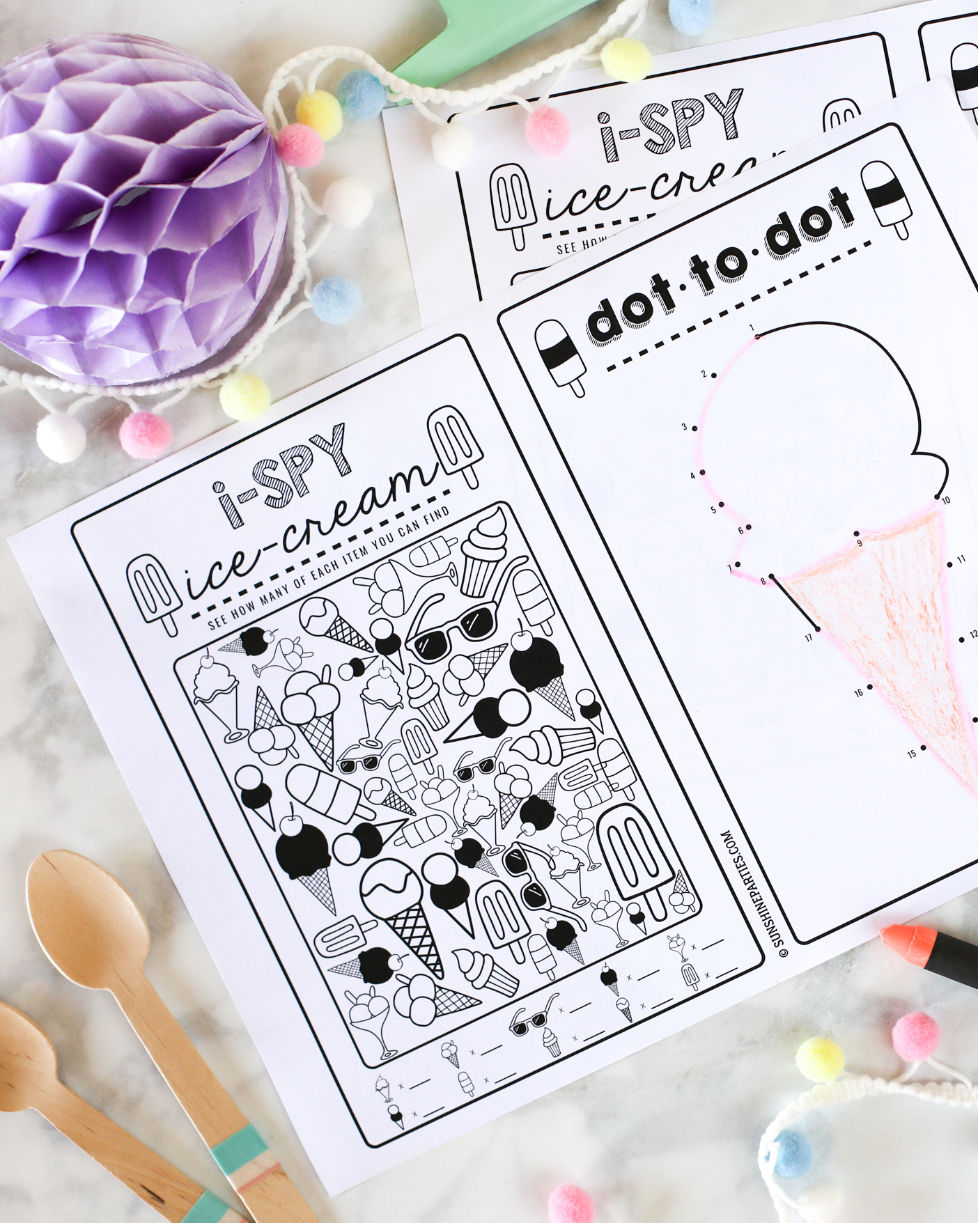Free Summer Activities For Kids Worksheets Ice Cream I Spy