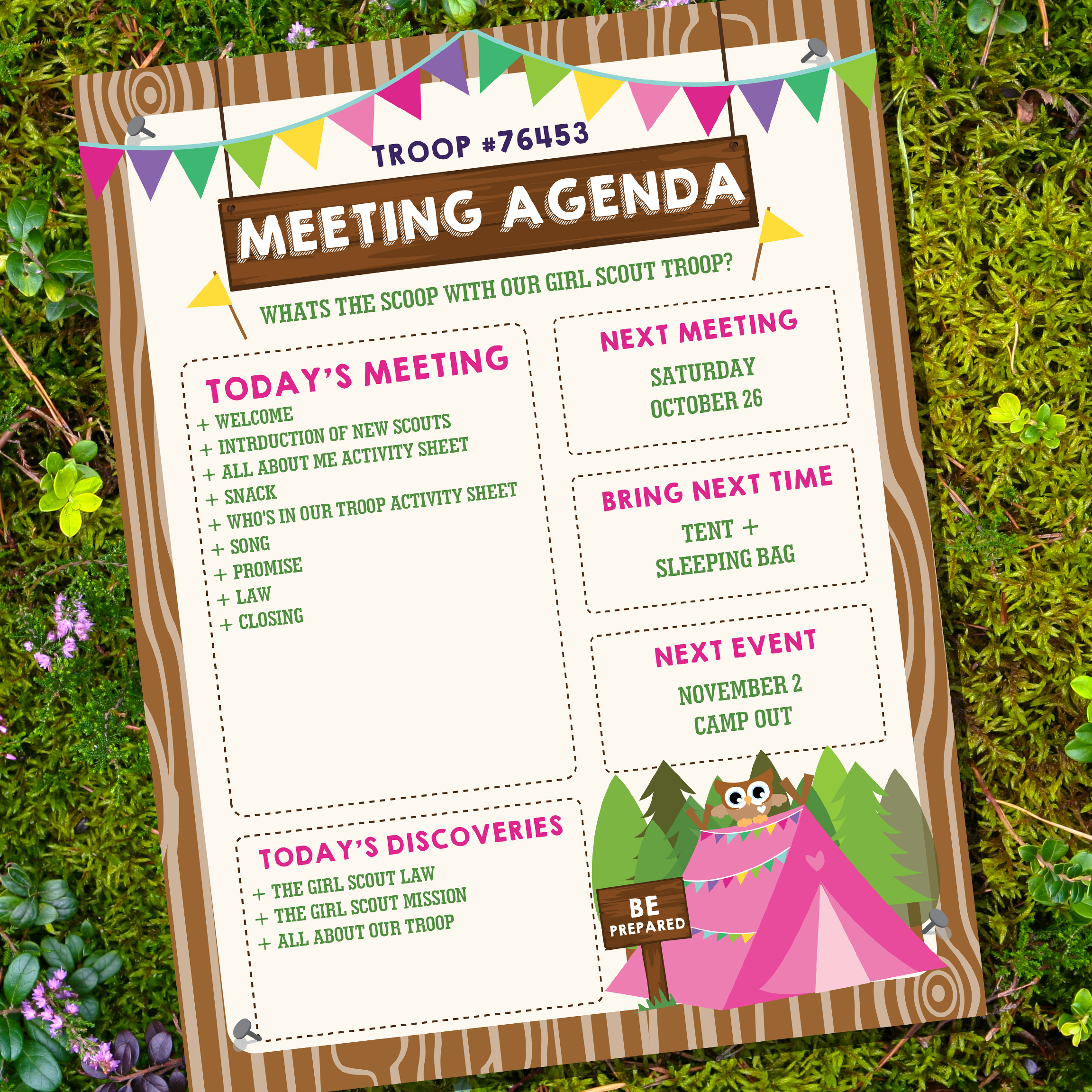 Boy And Girl Scout Meeting Agenda Kaper Chart Merit Badges