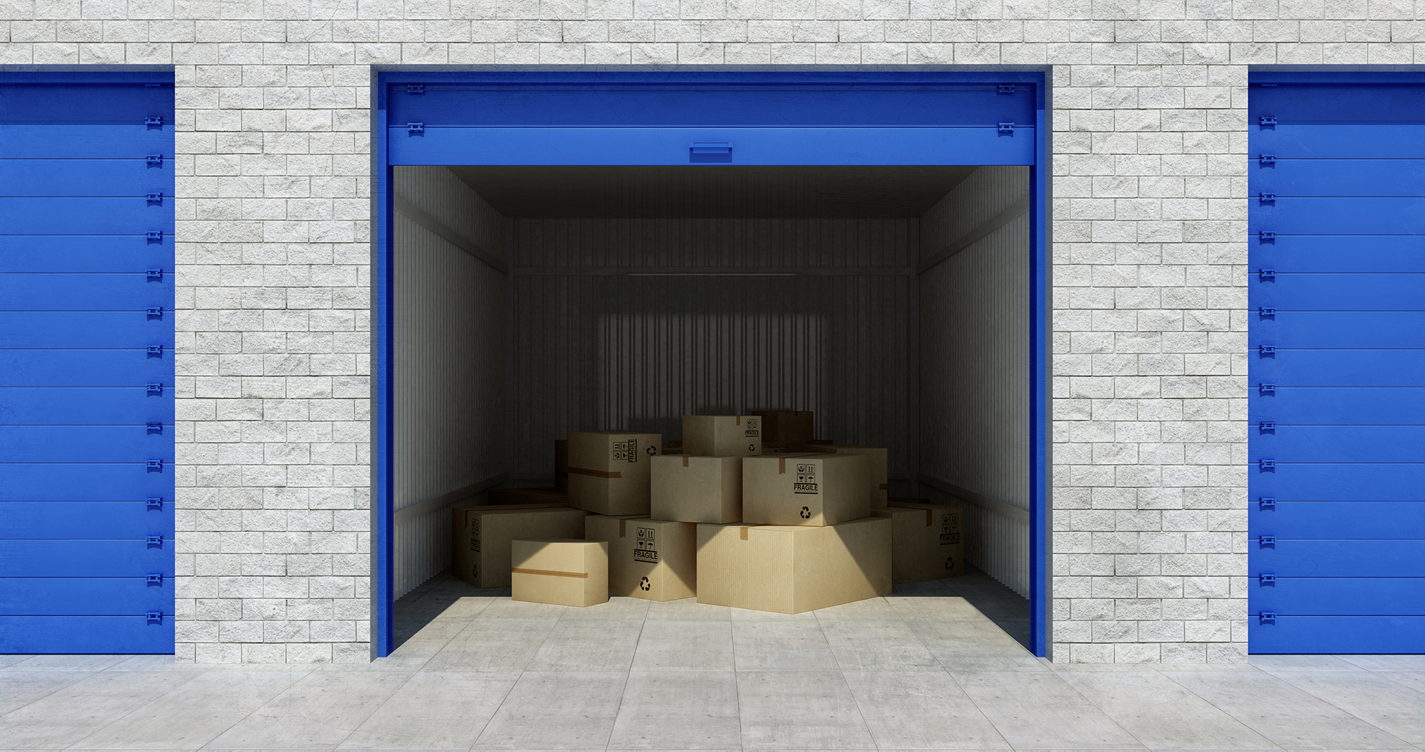 Illustration of an open storage unit partially filled with cardboard boxes