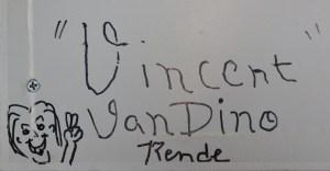Dino's name with a cartoon