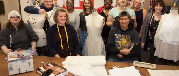 Angela Kunz surrounded by a fashion class