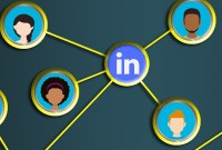 Cartoon heads connecting to a LinkedIn logo