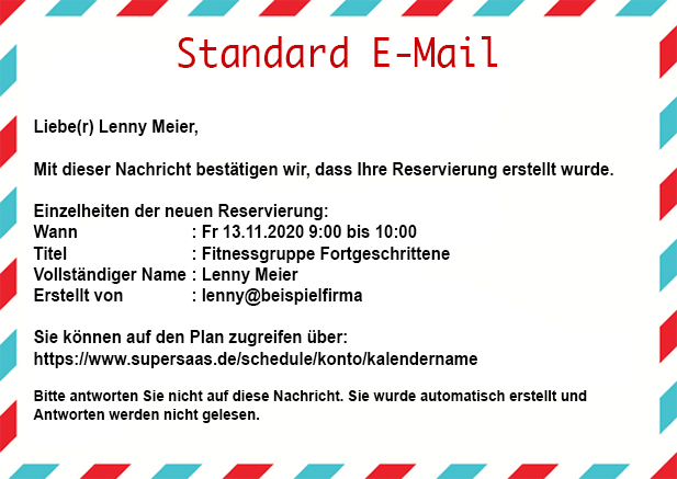 supersaas standard e mail