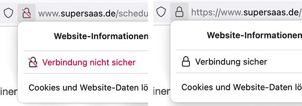 Beispiel einer Warnung bei einer http URL und Wechsel zu https bei Firefox Mozilla