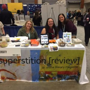 Superstition Review table at the AWP writers' conference