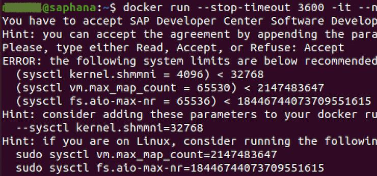 ABAP Platform: Docker run error