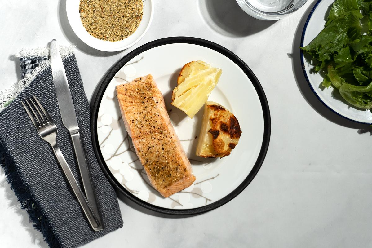 Salmon with Potato Au Gratin