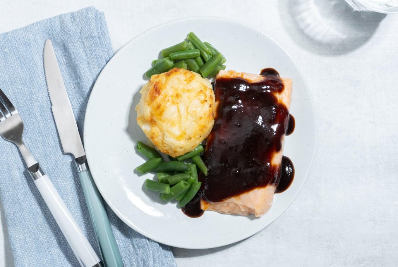BBQ Salmon with Potato Au Gratin