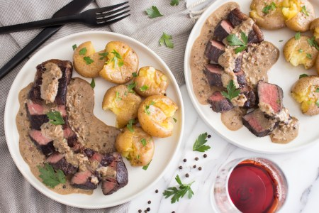 Steak au Poivre with Smashed Potatoes