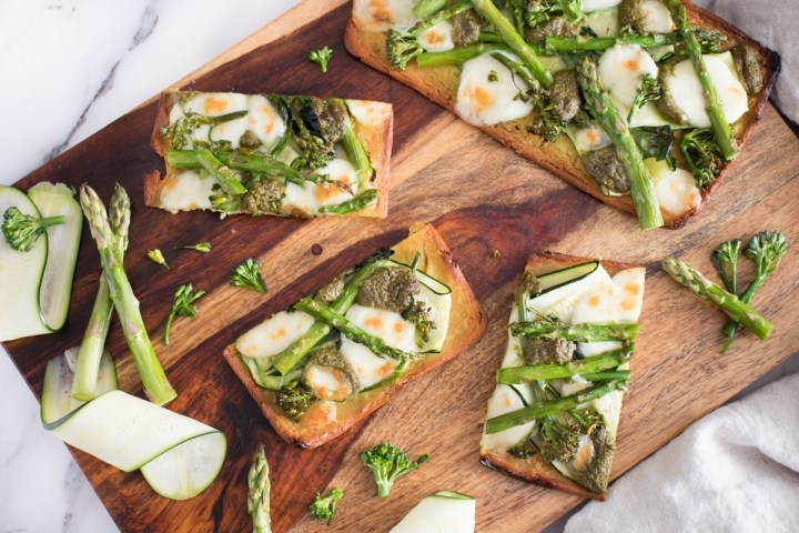 Chickpea Pizza with Green Vegetables and Fresh Mozzarella