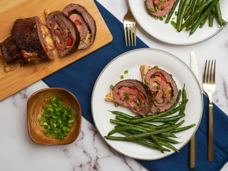 Gouda Cheese and Roasted Red Pepper Steak Roulade