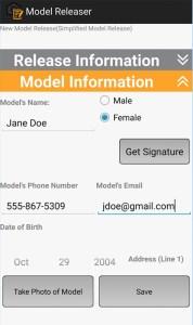Model release template app