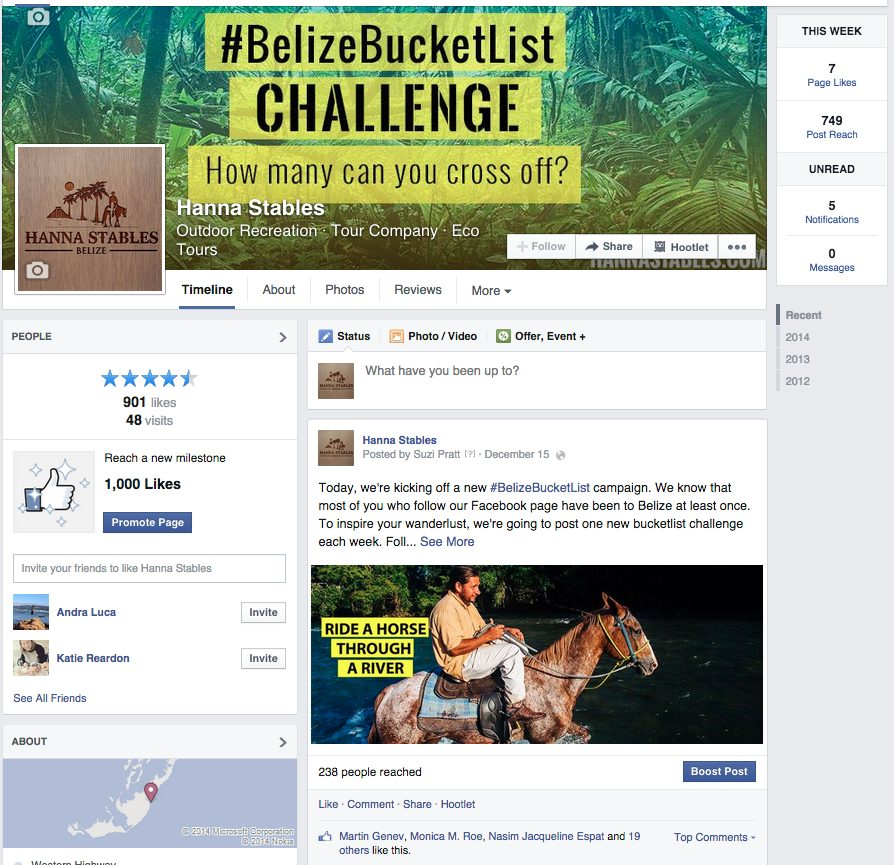 Hanna Stables Belize Bucket List marketing campaign