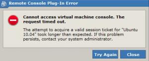 VMWare Plug-in Error - Cannot access virtual machine console