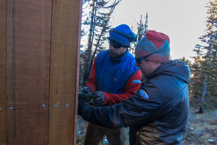 The bros building a redwood outhouse