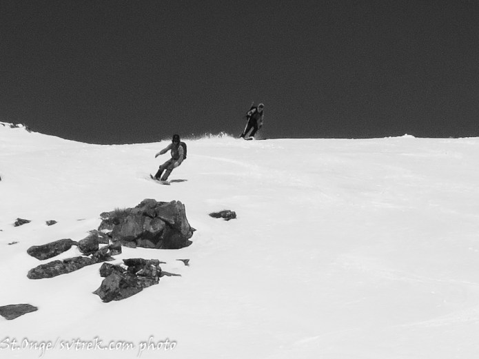 playful skiing/boarding through the basins on the way back to the yurt