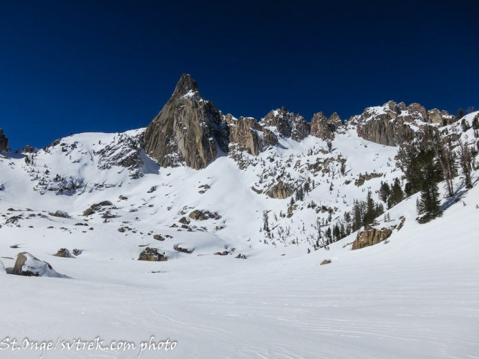 Sawtooth Beauty: The Monolith stands proud above this hanging valley, where aesthetic ski lines abound