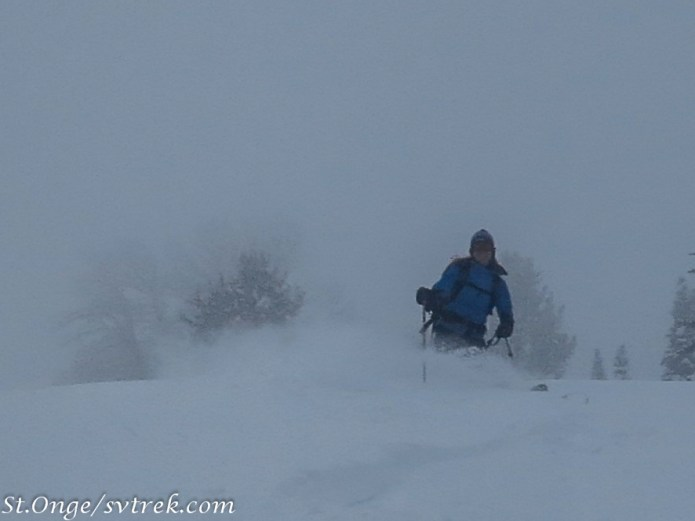 Francie, dropping in to a powder field