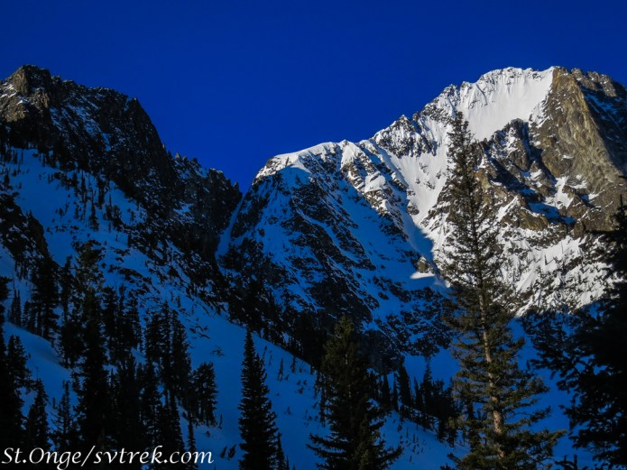 Our days objective: the Sickle Couloir. One of the many splitter couloirs in the Sawtooth