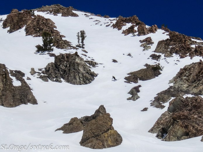 "This steep south facing ridge-line held many beautiful lines like this one named ""Jose Cuervo"""