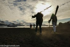 A surreal setting to finish a ski on black sand beach of Deception
