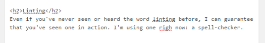 The WordPress spell-checker showing the previous paragraph.