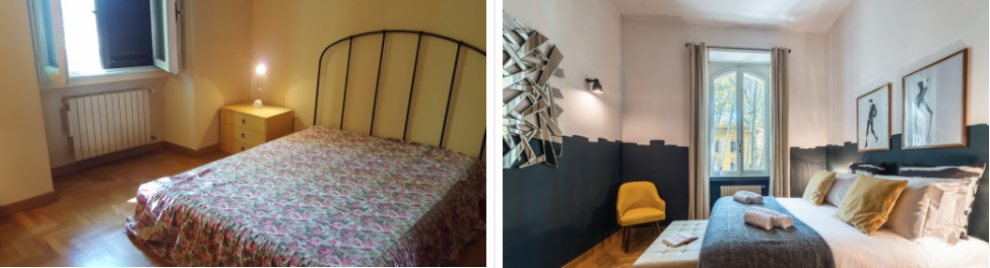 One of the bedroom of Tsatevere, before and after!