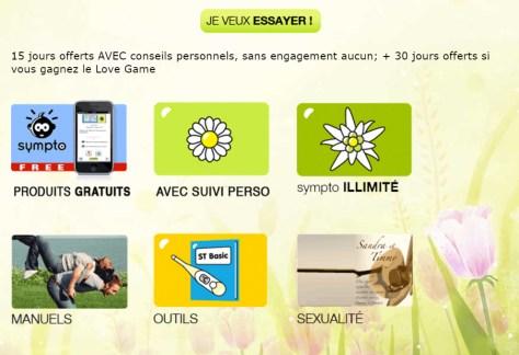 Vue sur le site sympto.org : cliquer sur Avec Suivi Perso