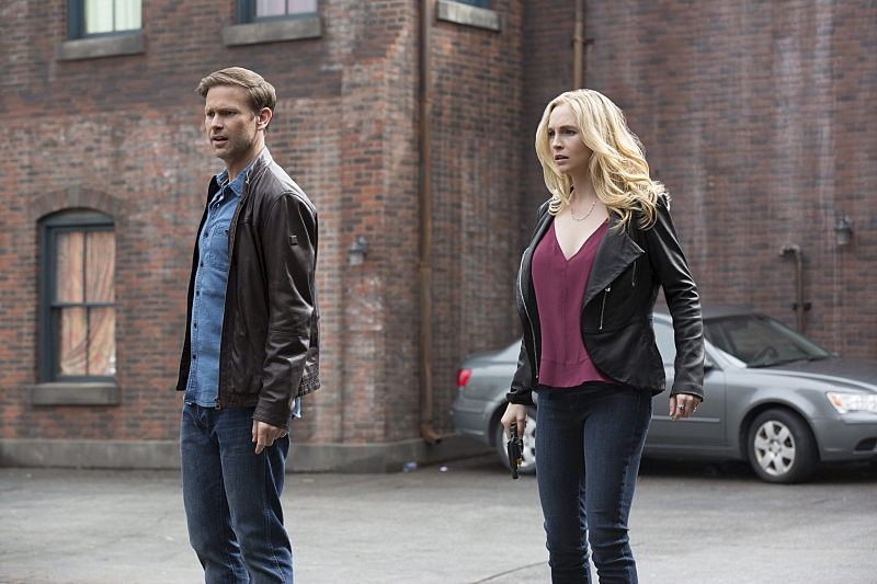 "The Vampire Diaries -- ""Kill 'Em All"" -- Image Number: VD720b_0018.jpg -- Pictured (L-R): Matt Davis as Alaric and Candice King as Caroline -- Photo: Bob Mahoney/The CW -- © 2016 The CW Network, LLC. All rights reserved."