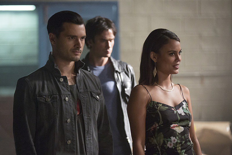 "The Vampire Diaries -- ""You Decided That I Was Worth Saving"" --Image Number: VD803a_0356.jpg -- Pictured (L-R): Michael Malarkey as Enzo, Ian Somerhalder as Damon and Nathalie Kelley as Sybil -- Photo: Bob Mahoney/The CW -- © 2016 The CW Network, LLC. All rights reserved."