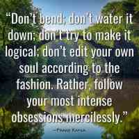 """""""Don't bend; don't water it down; don't try to make it logical; don't edit your own soul according to the fashion. Rather, follow your most intense obsessions mercilessly."""" ~Franz Kafka"""