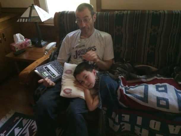sick child on my lap