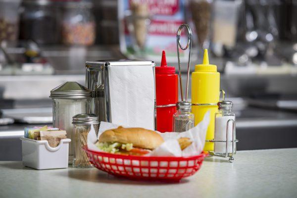 diner hamburger in TableCraft basket red