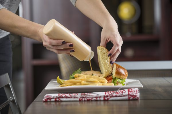 mustard squeeze bottle hamburger